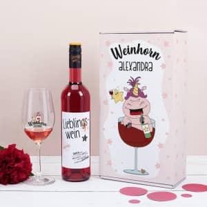 Personalisiertes Weinset mit Weinglas