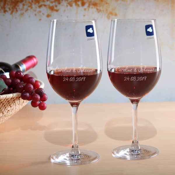 Weingläser Set zur Hochzeit mit Gravur