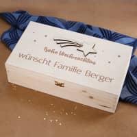 Gravierte Holzbox mit Sternschnuppe zu Weihnachten