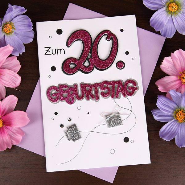 Glitzernde Glückwunschkarte zum 20. Geburtstag