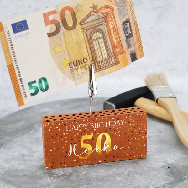 Happy Birthday - Ziegelstein Geldclip als Geschenk zum Geburtstag mit Name und Alter