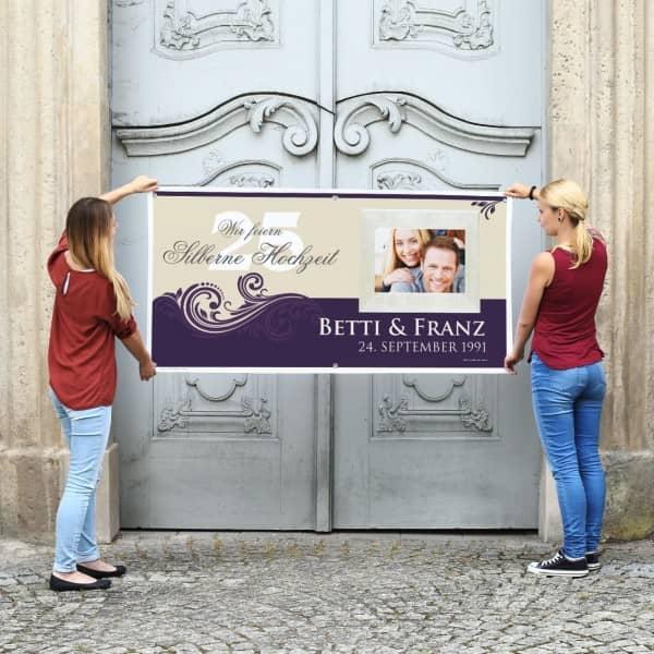Individuellfotogeschenke - XXL Banner zur Silbernen Hochzeit mit Foto 80cm x 160cm - Onlineshop Geschenke online.de