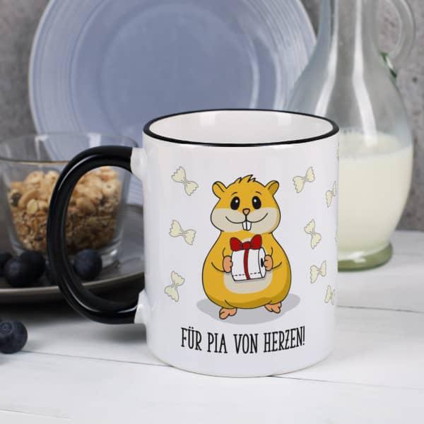 Hamster mit Klopapier - Tasse mit Wunschtext