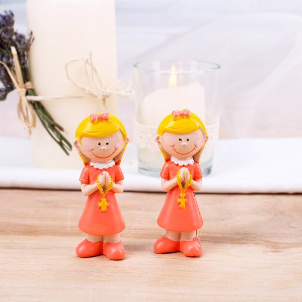 2 Mädchen Figuren zur Kommunion orange