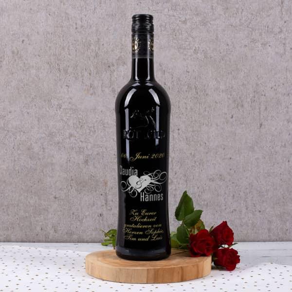 Rotwein mit zweifarbiger Gravur