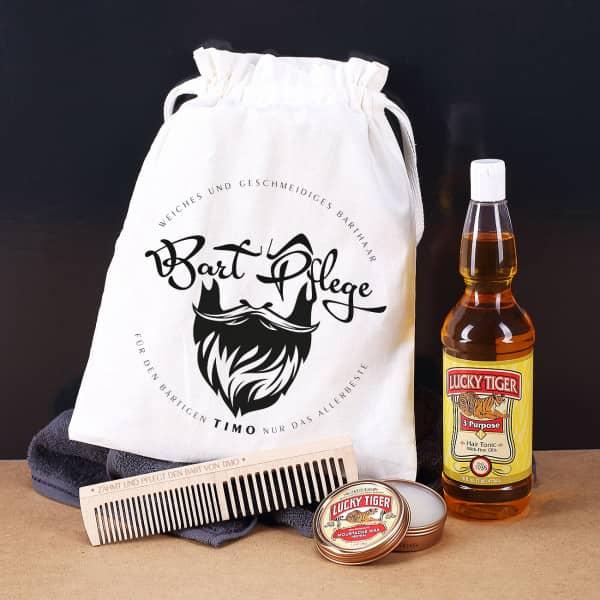 Jutesack für die Bart Pflege mit Bartwachs, Haarwasser und graviertem Holzkamm - Coole Geschenkideen für Männer mit Bart