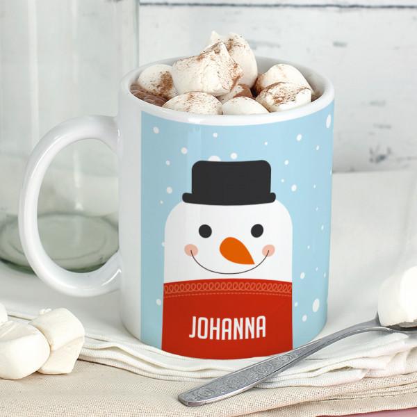 Bedruckte Tasse Schneemann mit Wunschname