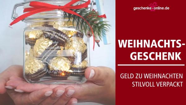 Geldgeschenk zu Weihnachten | ein Einmachglas süß dekorieren