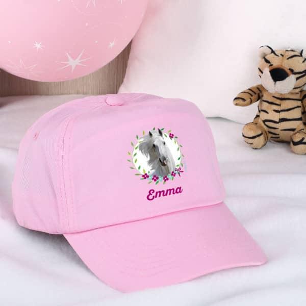 Individuellbekleidung - Rosa Basecap mit Pferdemotiv - Onlineshop Geschenke online.de