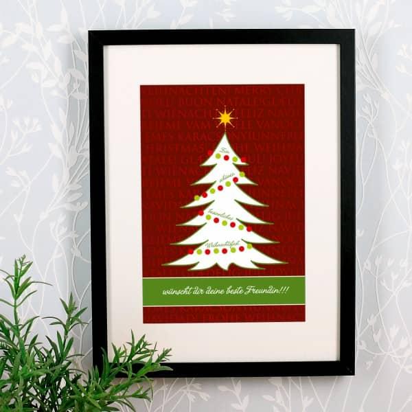 Personalisiertes Wandbild mit Wunschtext und Weihnachtsmotiv