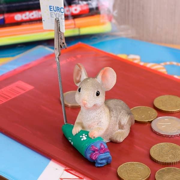sitzende Maus mit Schultüte und Geldclip *grün*