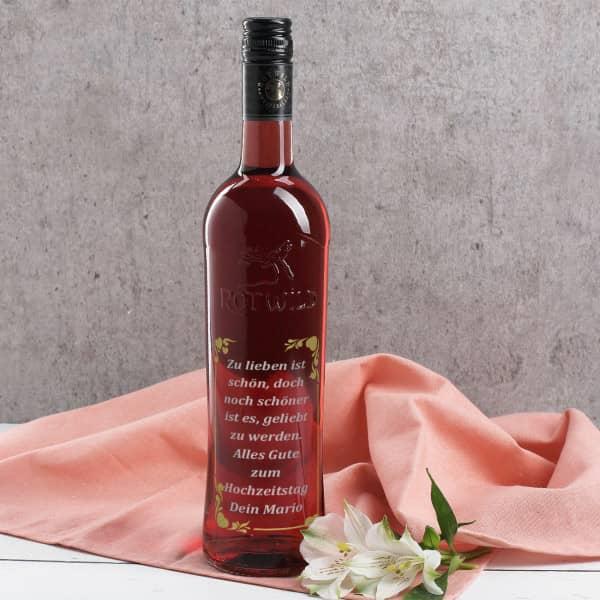 Gravierte Roséflasche zweifarbig veredelt