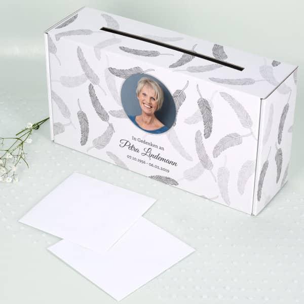 Bedruckte Kartenbox mit Foto für Beerdigungen