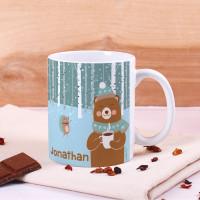 Tasse mit süßem Bär, Winterlandschaft und Name