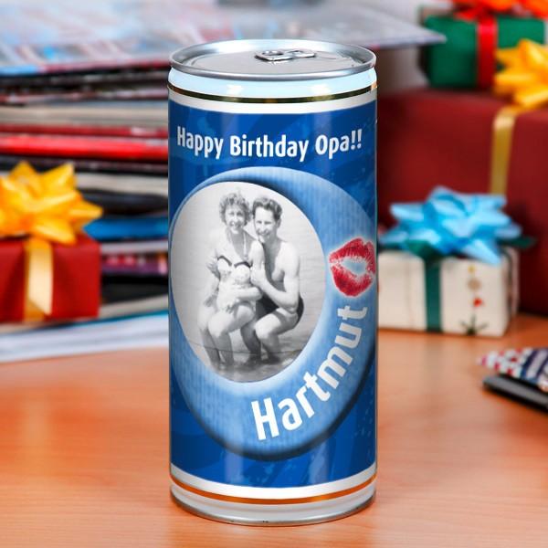 personalisierte Bierbüchse mit Foto und Name zum Geburtstag