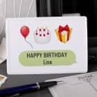Emoticon - Geburtstagskarte aus Metall mit Luftballon, Torte, Geschenk und Ihrem Namen