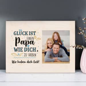 Fotogeschenk auf Holz zum Vatertag