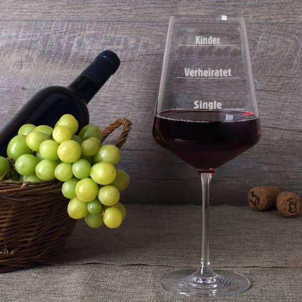 Weinglas zum Messen für Single, verheiratete und Kinder