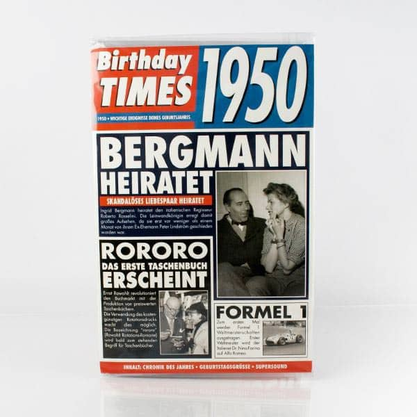 Birthday Times Karte mit Sound 1950