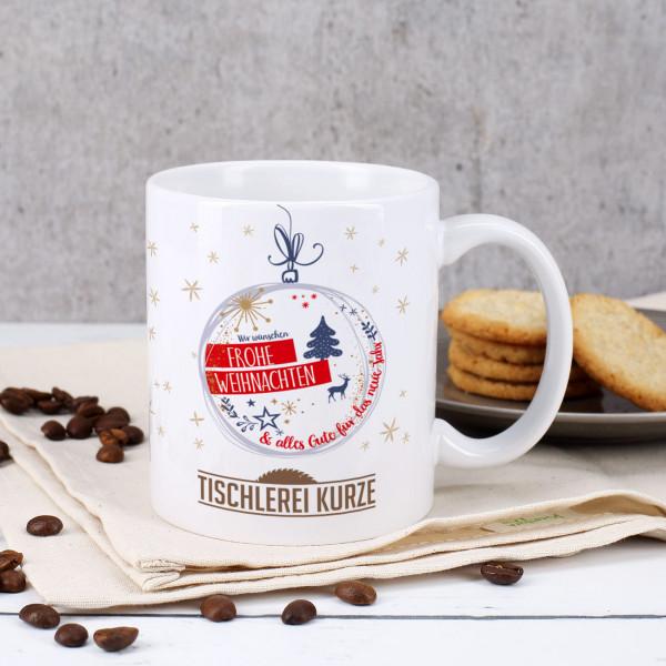 Frohe Weihnachten Tasse mit Ihrem Firmenlogo
