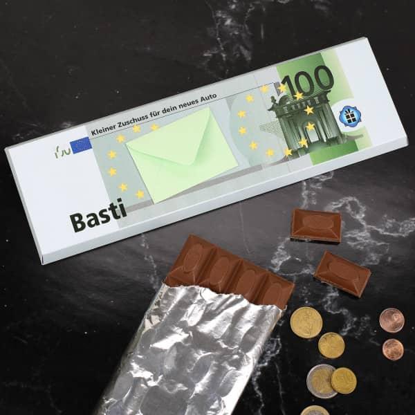 XL- Euro Schokolade mit Geldumschlag und persönlichem Text