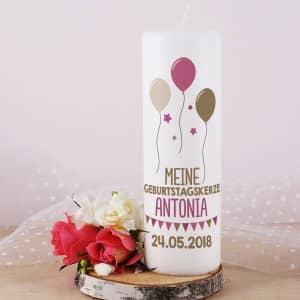 Kerze zur Geburt personalisiert