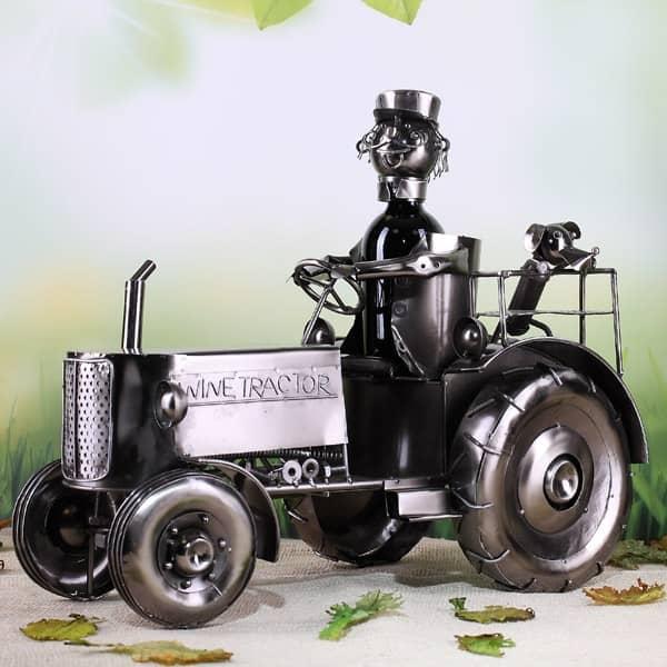 metall flaschenhalter traktor mit fahrer in xxl geschenke. Black Bedroom Furniture Sets. Home Design Ideas