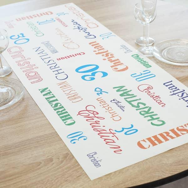 Tischläufer zum Geburtstag als Dekoration mit Name und Alter