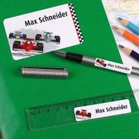 Aufkleber-Set mit Rennwagen und Wunschnamen