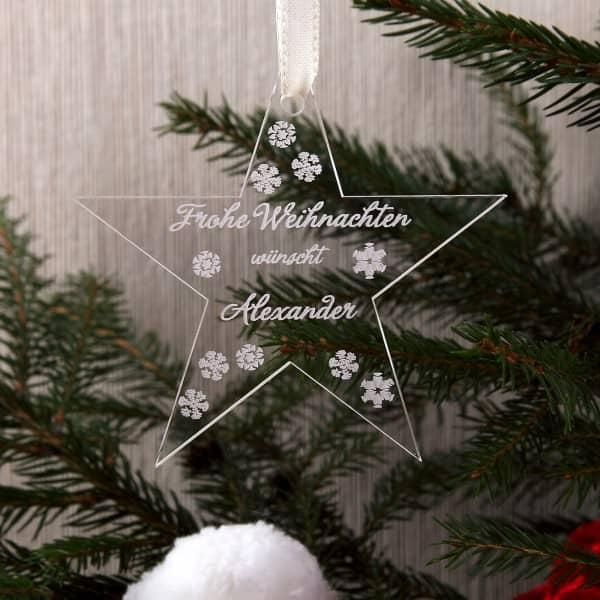 Christbaumanhänger Acrylstern Frohe Weihnachten