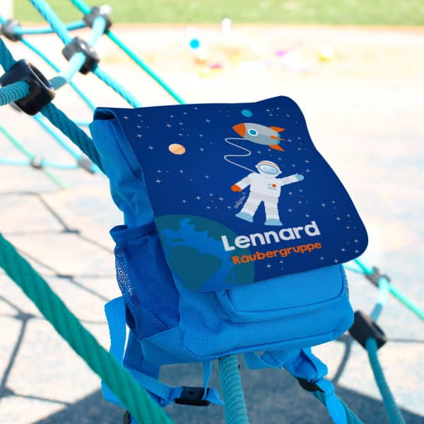 Kinder Rucksack im Weltraum Design mit Name des Kindes und Name der Kita Gruppe