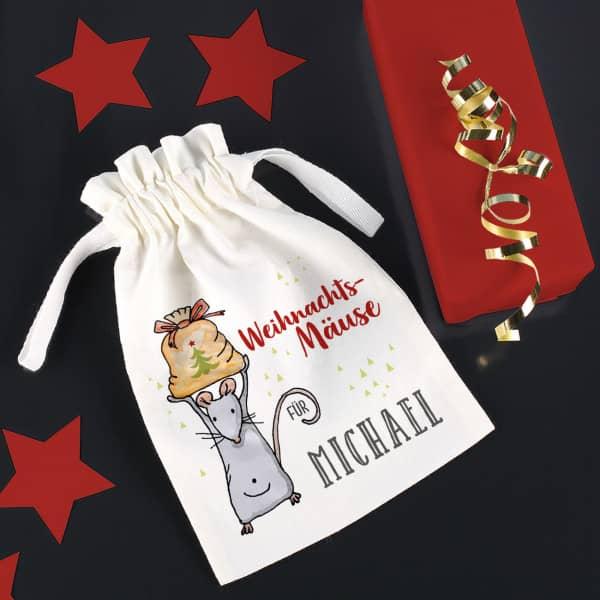 Weihnachtsmäuse - Säckchen für Geldgeschenke mi...