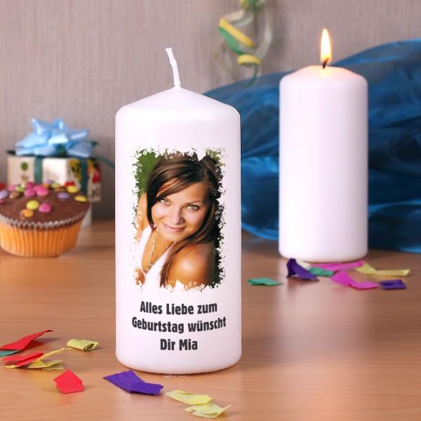 Kerze mit Foto und Wunschtext