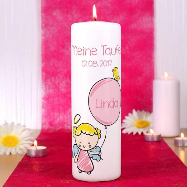 Kerze für Mädchen mit Schutzengel zur Taufe