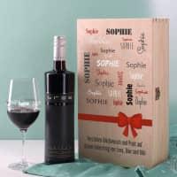 Wein-Set mit bedrucktem Glas in edler Holzverpackung