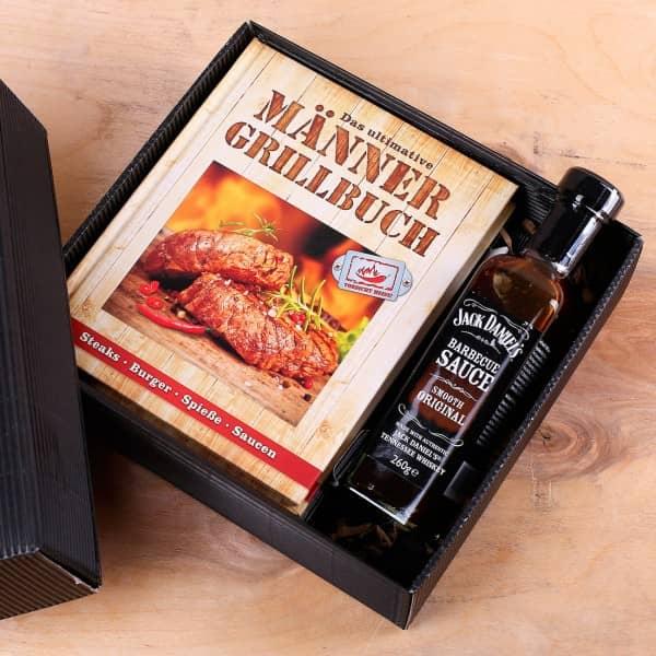 Grill Geschenkset Männer Grillbuch und BBQ Sauce