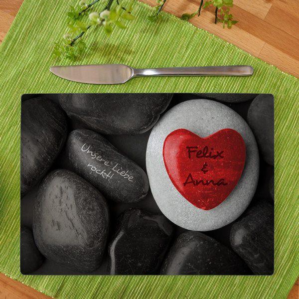Brettchen für Verliebte mit Namen und Liebesbotschaft