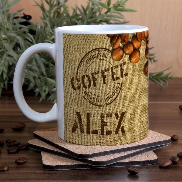 Kaffeetasse mit Kaffeebohnen Motiv und Name