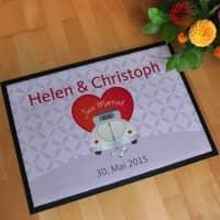 Just Married - Hochzeitsfußmatte mit Wunschnamen und Datum