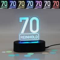 Acryllampe zum 70. Geburtstag mit Name