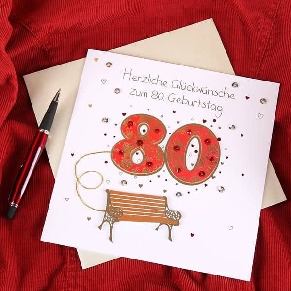 Handgefertigte Grußkarte zum 80.Geburtstag in Weiß