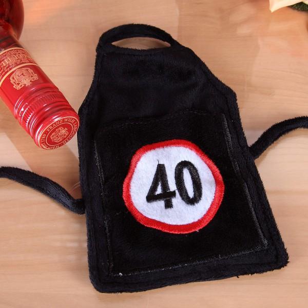 Flaschen-Schürze mit Tasche 40 aus Plüsch