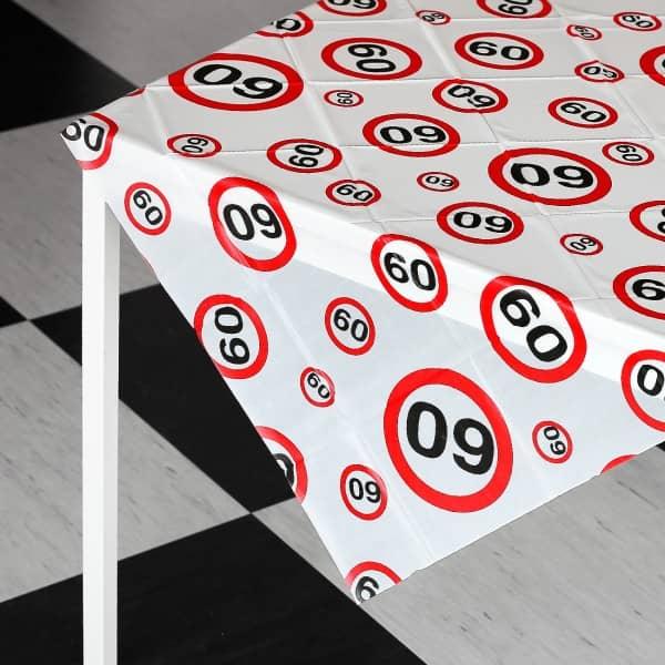 Tischdecke zum 60. Geburtstag mit Verkehrszeichen Motiv