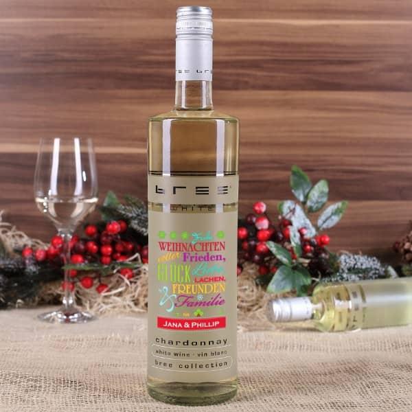 Weißwein mit guten Wünschen zum Fest