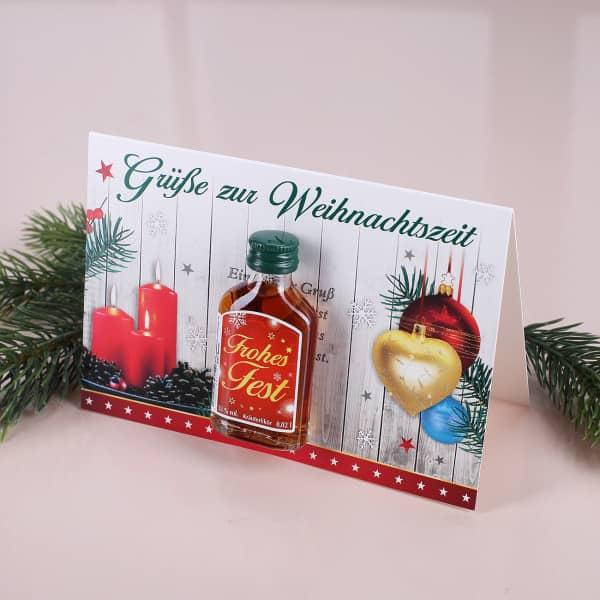 Weihnachtskarte mit Likör Frohes Fest Rot
