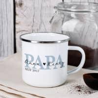Metalltasse - Papa seit - als Geschenk zum Vatertag
