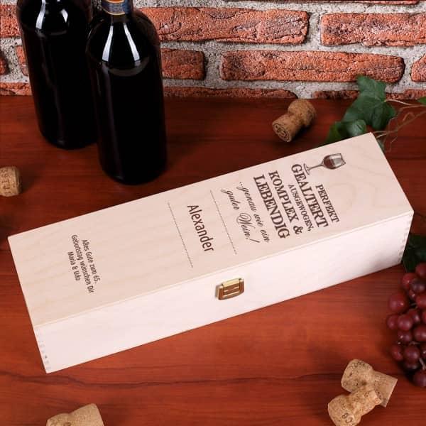 Holzverpackung für Wein mit persönlichem Aufdruck