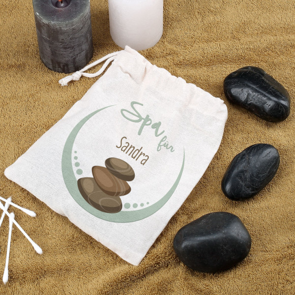 Hot Stone Massagesteine mit bedruckten Jutesack