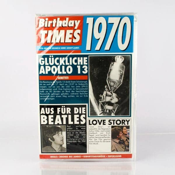 Birthday Times Karte mit Sound 1970