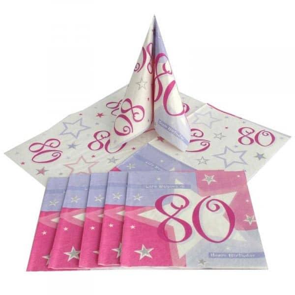 Servietten PINK SCHIMMER zum 80. Geburtstag